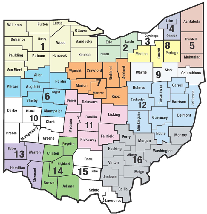 This is a visual map of Ohio's 16 SST Regions