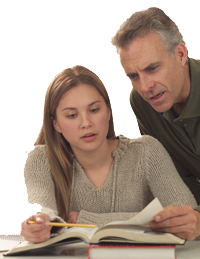 Photo: A father is helping his daughter study