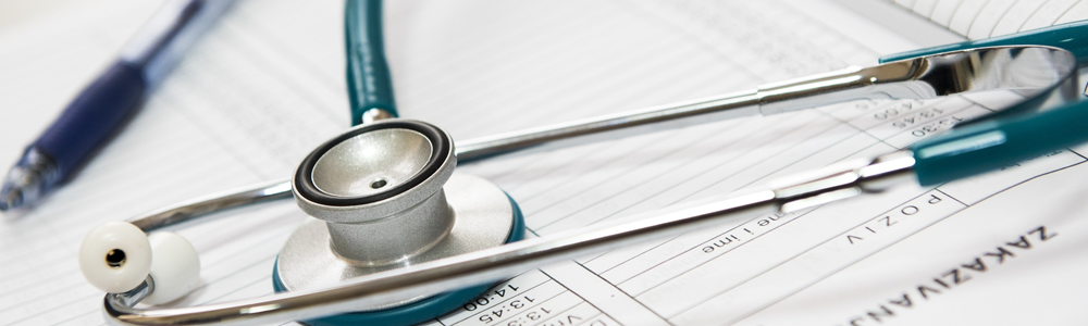 stethoscope and medical record